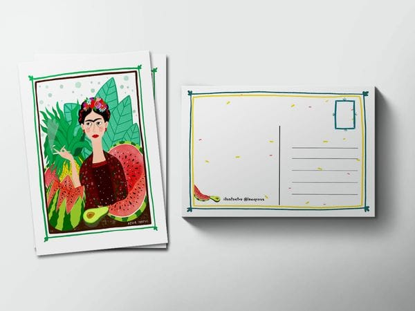 Почтовая открытка «Фрида с арбузами», Елена Пирус