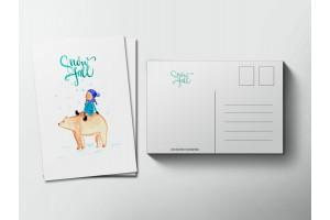 Почтовая открытка «Снегопад», Елена Пирус