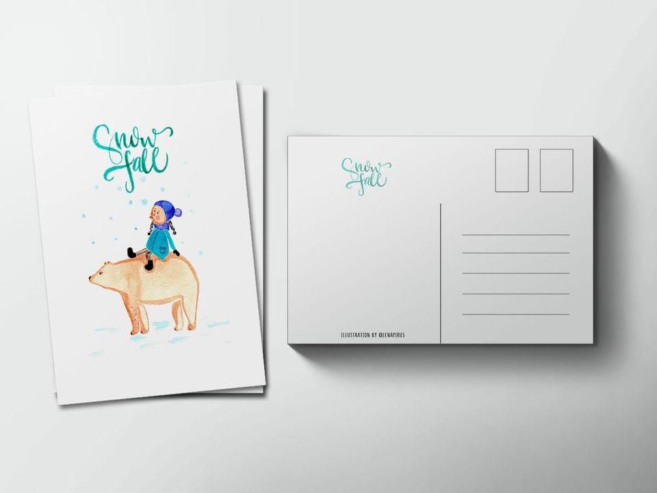Почтовая открытка «Снегопад», автор Лена Пирус
