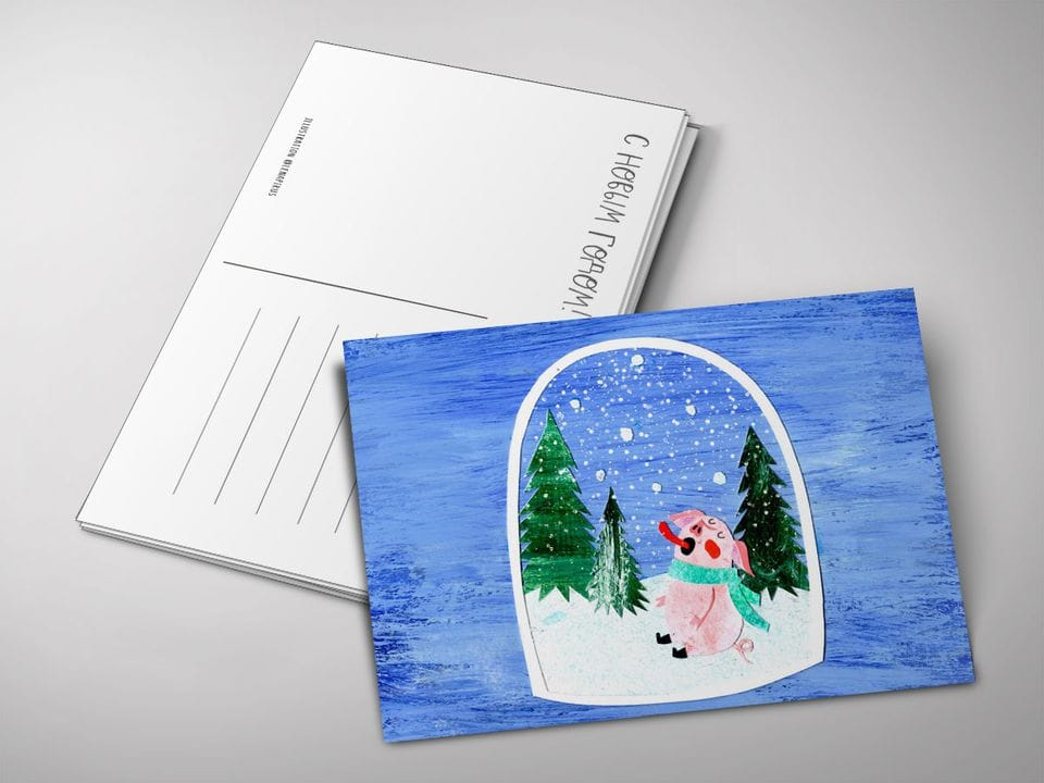 Почтовая открытка «Снежинки», автор Лена Пирус