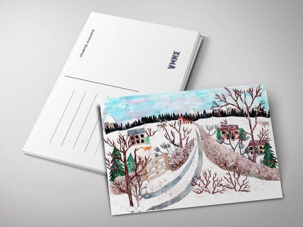 Открытка «Зима 2019 аппликация»