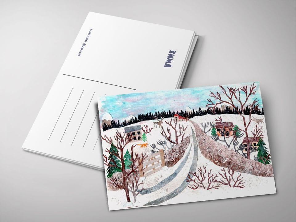 Почтовая открытка «Зима», автор Лена Пирус