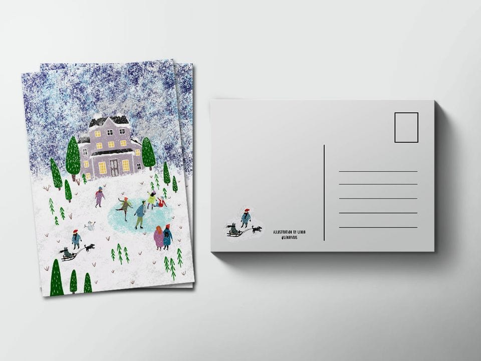 Почтовая открытка «Зимний вечер. Каток», автор Лена Пирус
