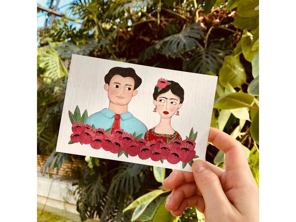 Почтовая открытка «Молодые, Диего и Фрида»автор Елена Пирус
