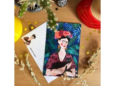 Почтовая открытка «Фрида и кот», автор Елена Пирус