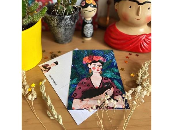 Почтовая открытка «Фрида и кот», Елена Пирус