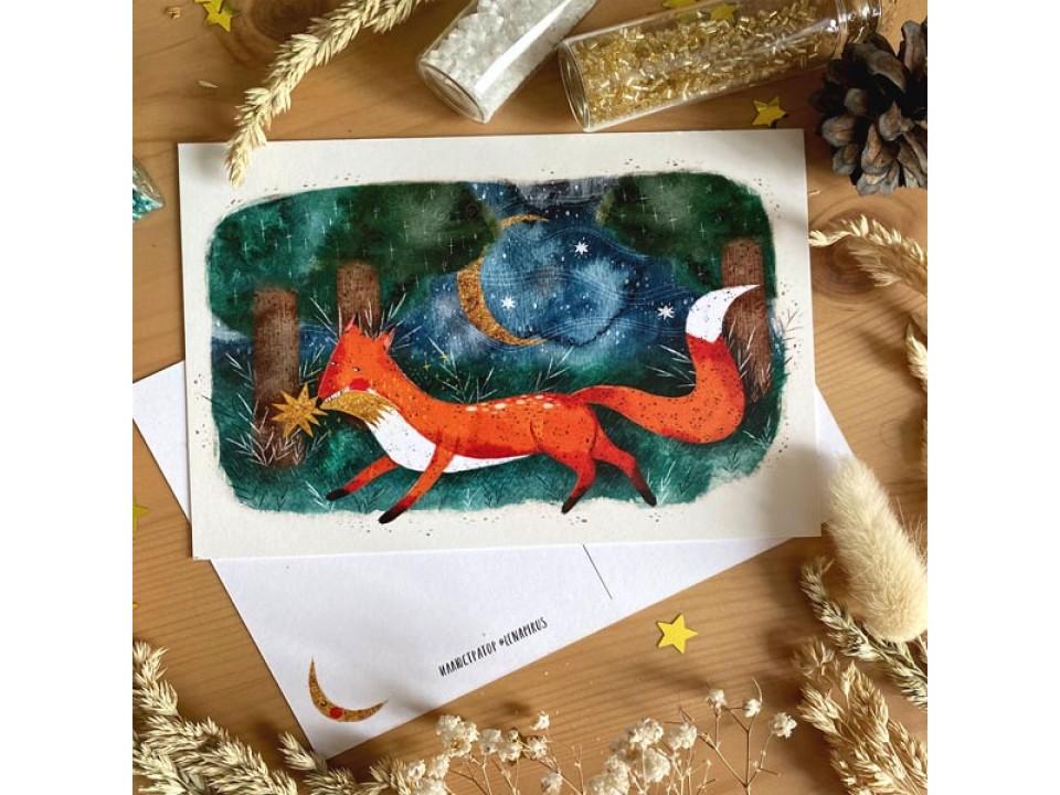 Открытка почтовая «Лиса», автор Лена Пирус