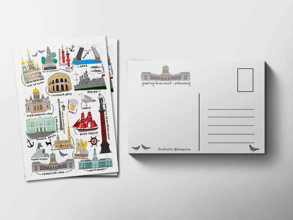 Петербург на почтовых открытках