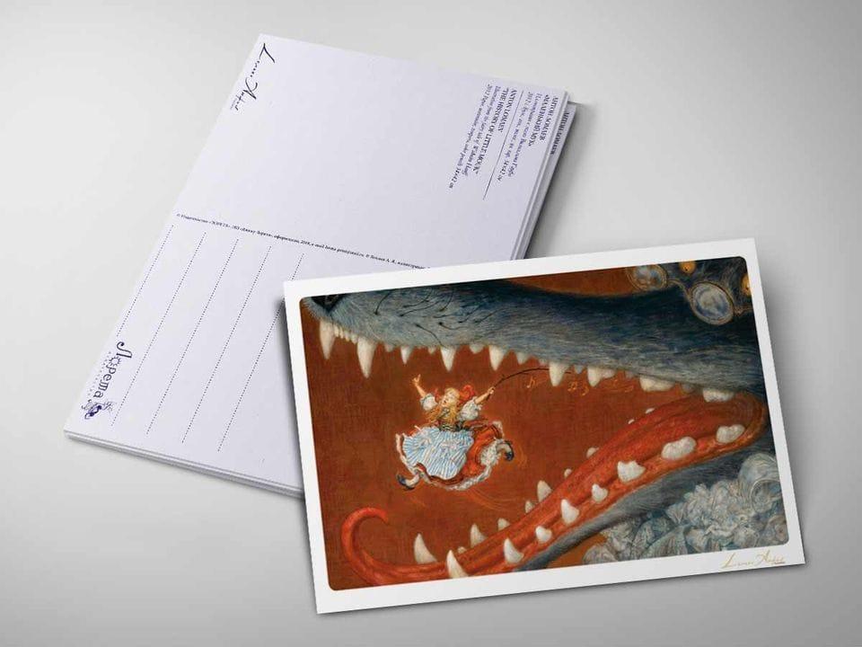 Почтовая открытка «Красная шапочка. Бабушка, почему у тебя такие большие зубы?» из коллекции Ломаева Антона