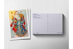 Почтовая открытка «Дед Мороз и Снегурочка», Антон Ломаев
