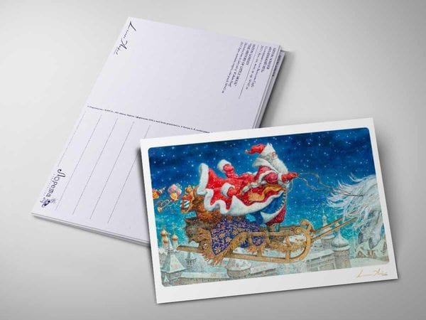 Открытка «Дед Мороз на санях»