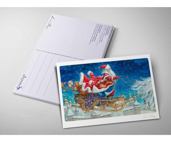 Открытка «Дед Мороз на санях» из коллекции Ломаева Антона