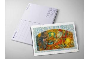 Почтовая открытка «Дед Мороз готовит подарки», Антон Ломаев