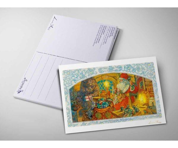 Открытка «Дед Мороз готовит подарки» из коллекции Ломаева Антона