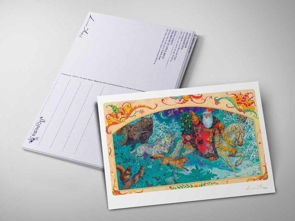 Почтовая открытка «Дед Мороз в лесу», Антон Ломаев