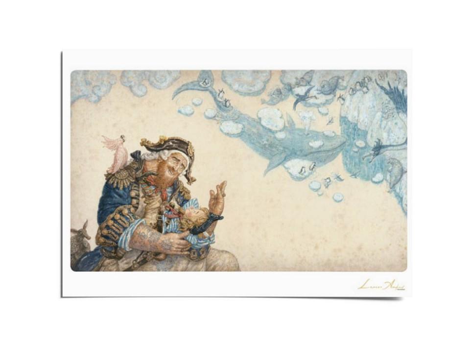 Открытка почтовая «Колыбельная для маленького пирата», иллюстрация Ломаева Антона