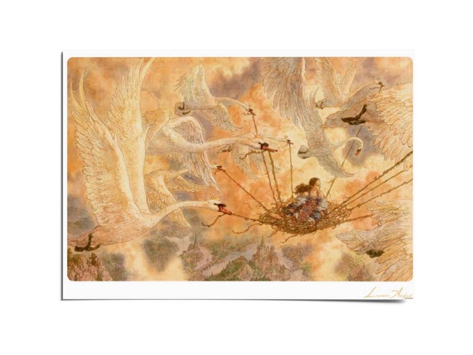 Открытка почтовая «Дикие лебеди», иллюстрация Ломаева Антона