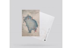 Открытка почтовая «Карта маяков Ладожского озера»