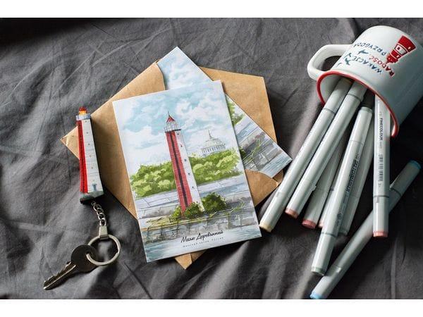 Почтовая открытка «маяк Деревянный» (Финский залив. Россия)