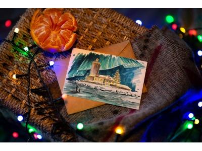 Почтовая открытка «Маяк Толбухин» (зимний) (Финский залив. Россия)