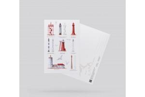 Почтовая открытка «маяки Финского залива коллаж» (Финский залив)