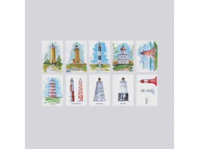 Набор почтовых открыток «Маяки» 70 штук в комплекте
