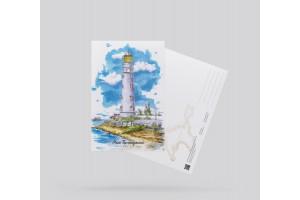 Открытка почтовая «маяк Тархангутский» (Черное море, Крым)