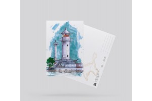Открытка почтовая «маяк Ялтинский» (Черное море, Крым)