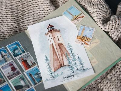 Открытка «маяк Кыпу» (Финский залив. Эстония)