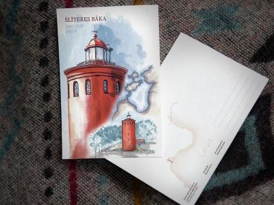 Открытка «маяк Шлитере» (Рижский залив. Латвия)