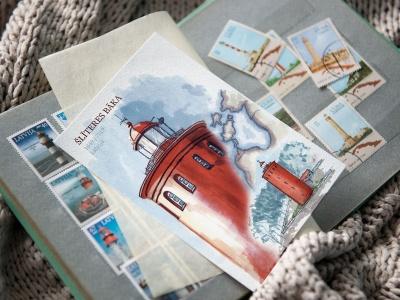 Почтовая открытка «маяк Шлитере» (Рижский залив. Латвия)