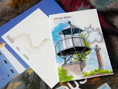 Открытка «маяк Айнажи» (Рижский залив. Латвия)