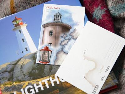 Почтовая открытка «маяк Овиши» (Рижский залив. Латвия)