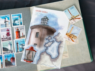 Открытка «маяк Овиши» (Рижский залив. Латвия)