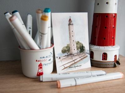 Открытка «маяк Деревянный» (Финский залив. Россия)