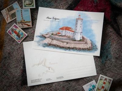 Открытка «маяк Толбухин» (Финский залив. Россия)