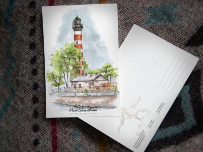 Открытка «маяк Шепелёвский» (Финский залив. Россия)