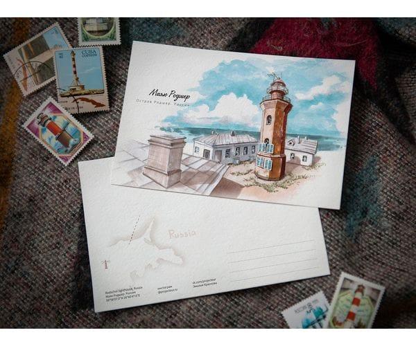 Почтовая открытка «маяк Родшер» (Финский залив.Россия)
