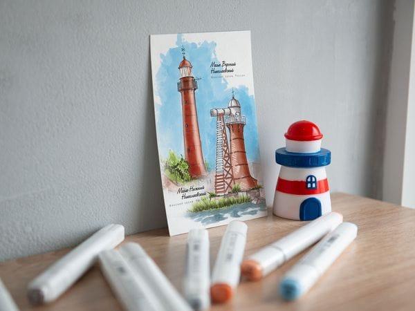 Почтовая открытка «Верхний и нижний Николаевские маяки» (Финский залив. Россия)