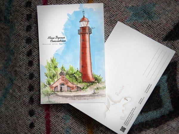 Почтовая открытка «маяк Верхний Николаевский» (Финский залив. Россия)