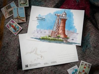 Открытка «маяк Нижний Николаевский» (Финский залив. Россия)