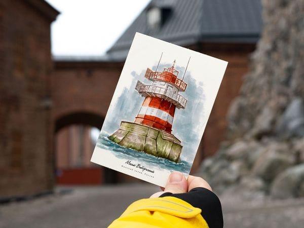 Почтовая открытка «маяк Выборгский» (Финский залив. Россия)