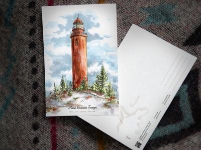 Открытка «маяк Большой Тютерс» (Финский залив. Россия)