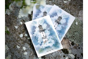 Почтовая открытка «маяк Ар-Мен» (Бискайский залив. Франция)