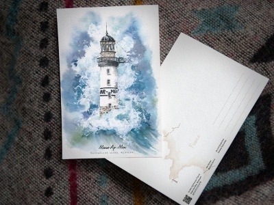 Открытка «маяк Ар-Мен» (Бискайский залив. Франция)