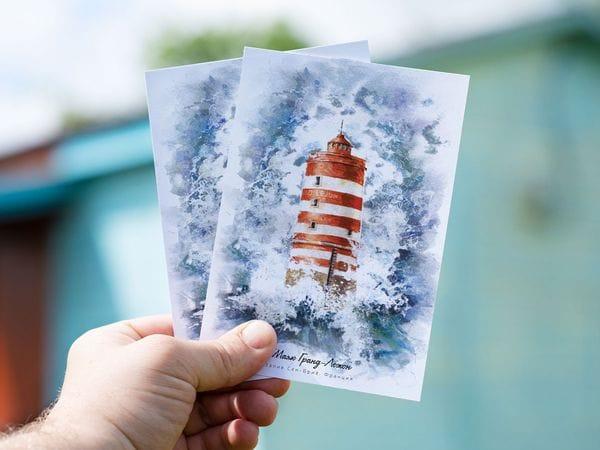 Почтовая открытка «маяк Гранд Лежон» (Залив Сен-Бриё. Франция)