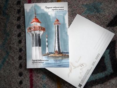 Открытка «Створные маяки морского канала» (Финский залив. Россия)