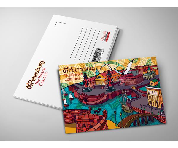 Почтовая открытка из коллекции Абстрактный Петербург «Вид на Стрелку Васильевского острова и Биржу»