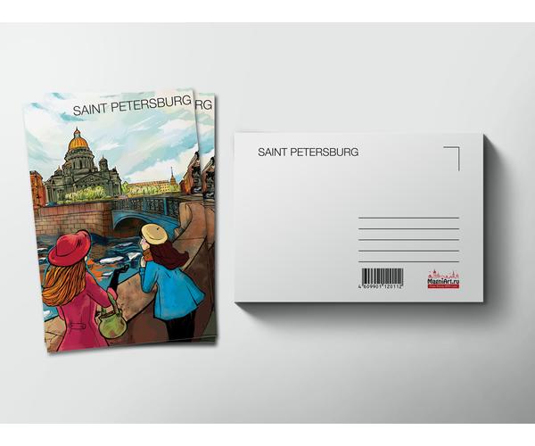 Почтовая открытка «Исаакиевский собор» из коллекции Романтический Петербург