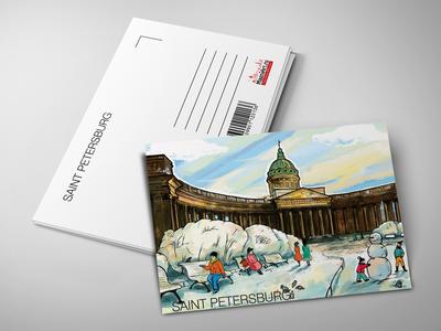 Почтовая открытка «Казанский собор» из коллекции Романтический Петербург